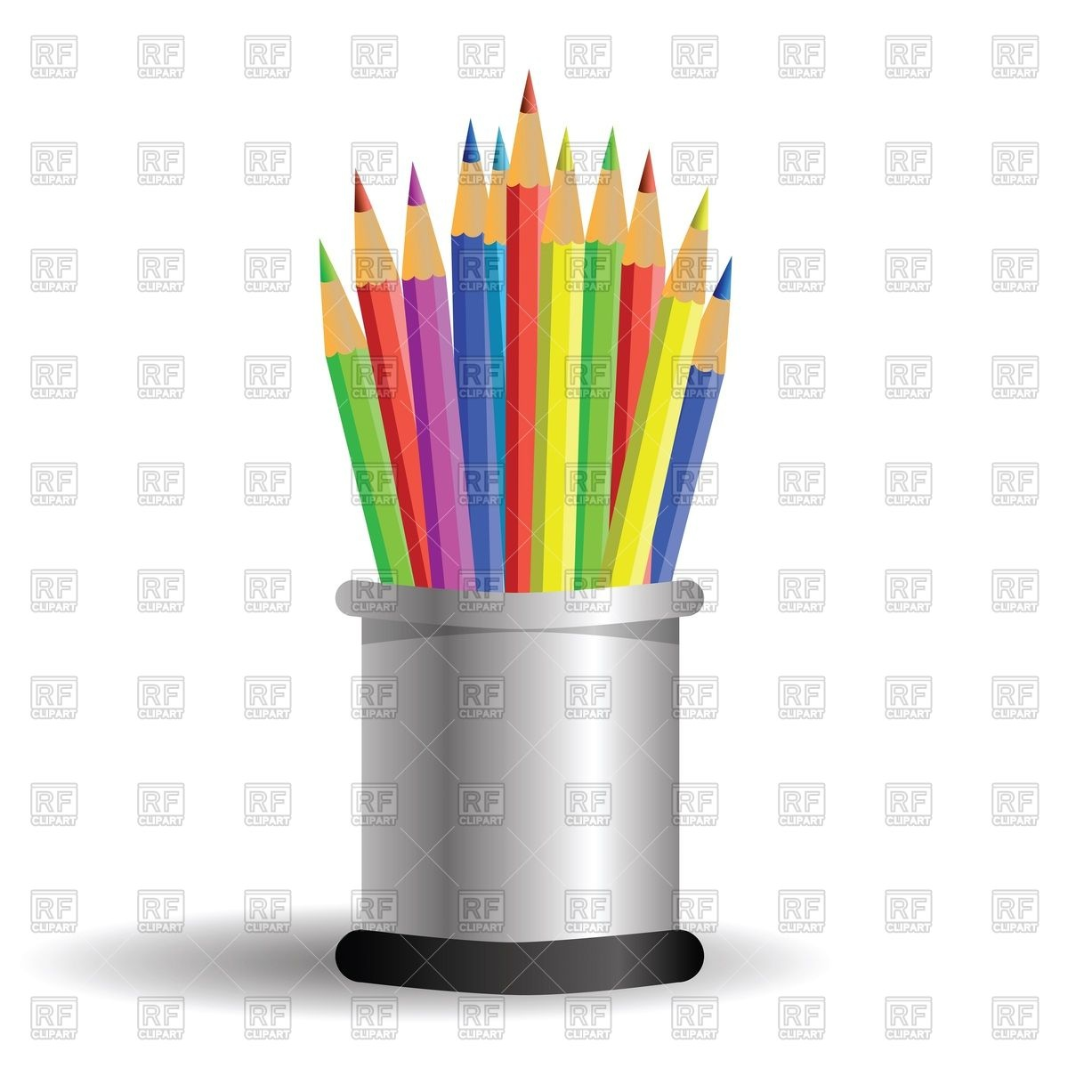 Pens and pencils in cylindrical pencil case Vector Image #19763.