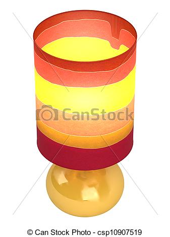 Clipart of Colourful cylindrical lampshade and base.