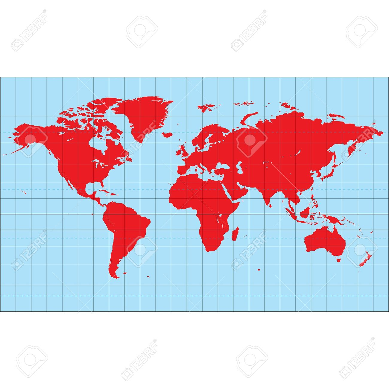 A World Map Based On The Miller Cylindrical Projection Royalty.