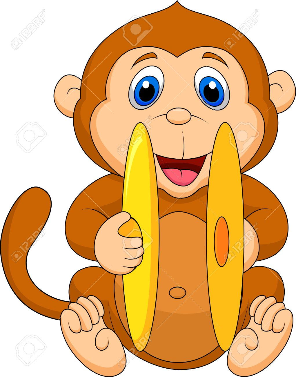Cute Monkey Cartoon Playing Cymbal Royalty Free Cliparts, Vectors.