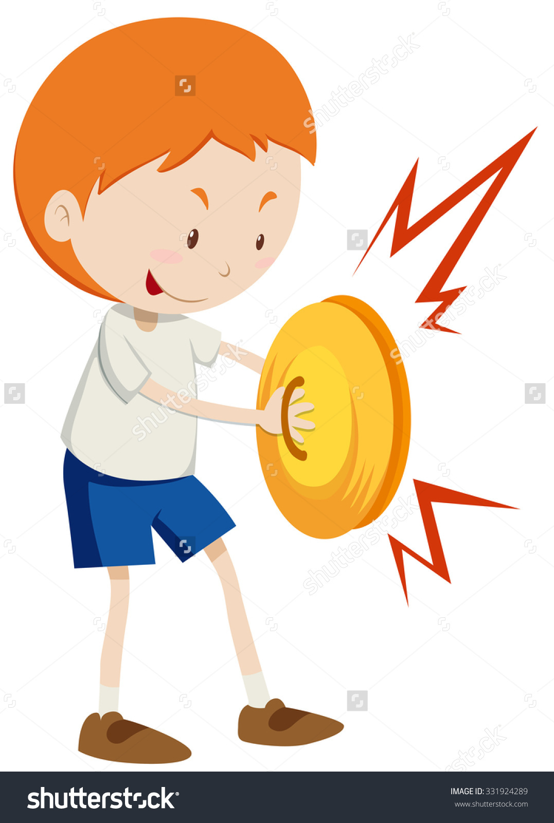 Little Boy Playing Cymbals Illustration Stock Vector 331924289.