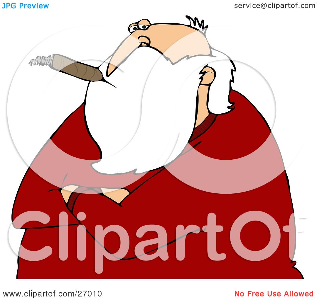 Clipart Illustration of Santa Claus With His Arms Crossed, Smoking A.