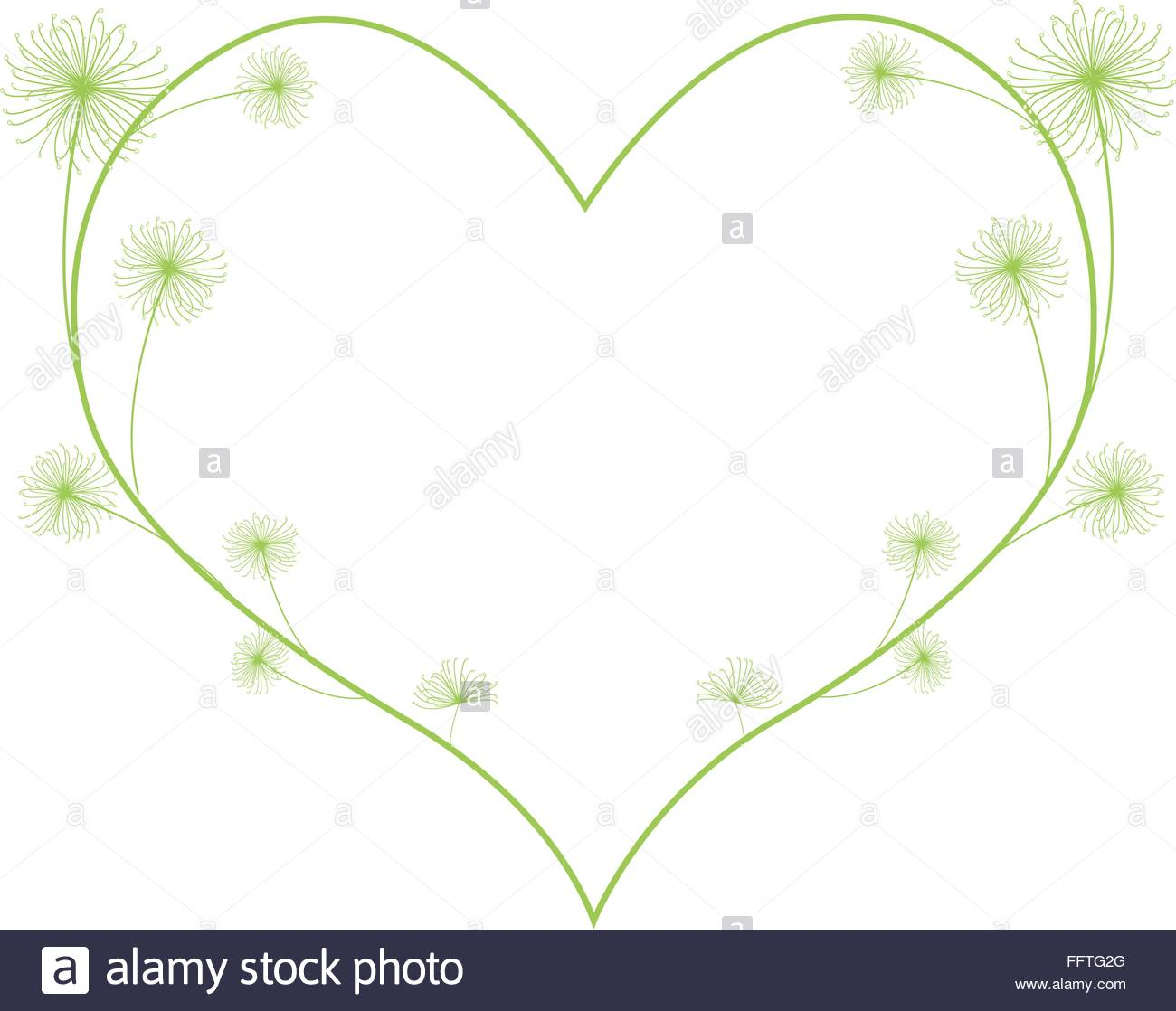 Love Concept, Illustration Of Green Egyptian Cyperus Papyrus Or.