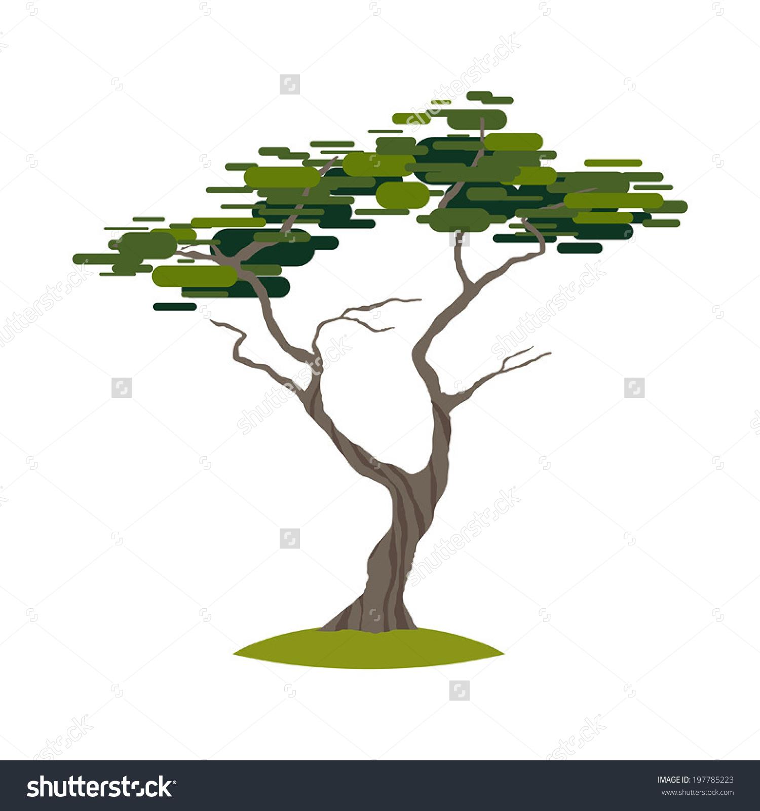 Cartoon Crooked Cypress Tree On Transparent Stock Vector 197785223.