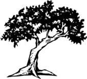 Cypress tree silhouette clip art.