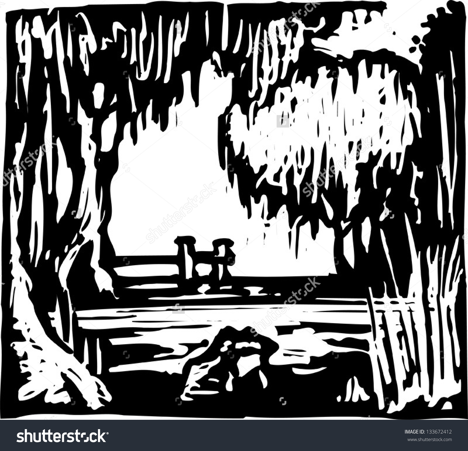 Black and white swamp clipart.
