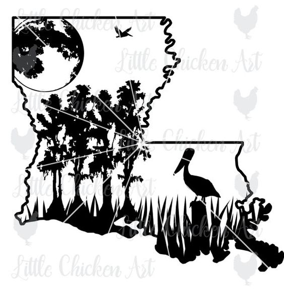 Louisiana Swamp Scene, cut file / clip art, Silhouette, Cricut.