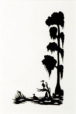 Silhouette; Rice (Carew), signed, Duck & Heron in Cypress Swamp, 5.
