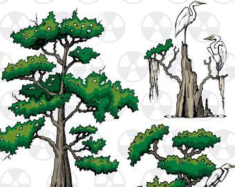 Cypress tree art.