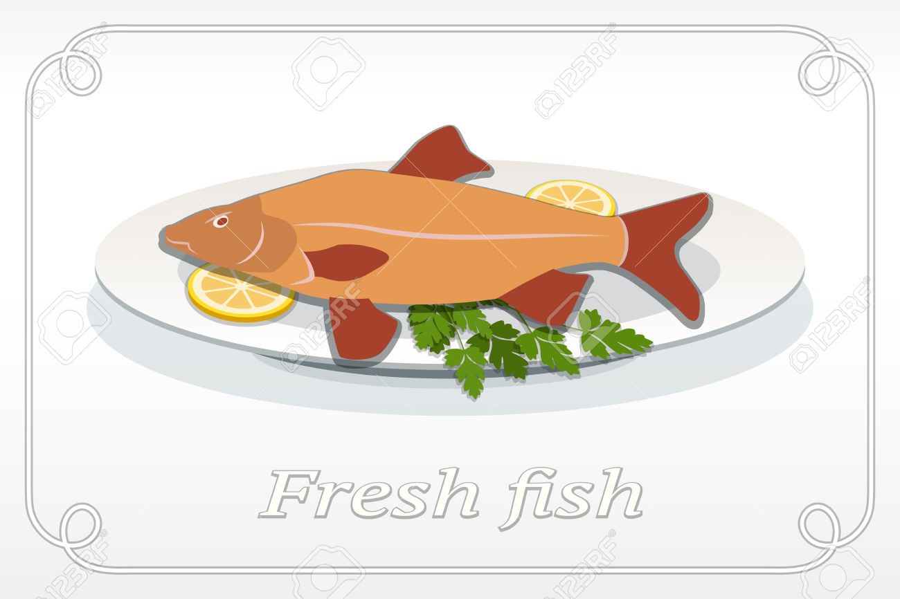 Fish With Fins On Plate, Lemon And Parsley Icon. Seafood Dish.