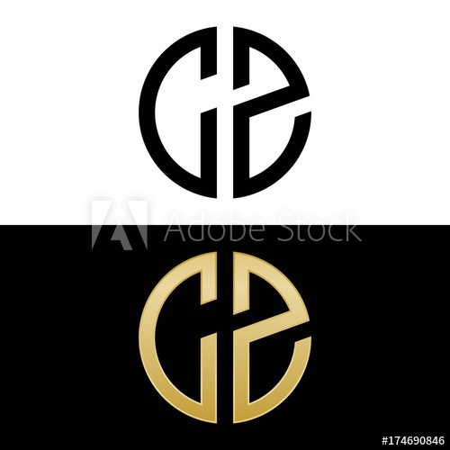 cz initial logo circle shape vector black and gold.