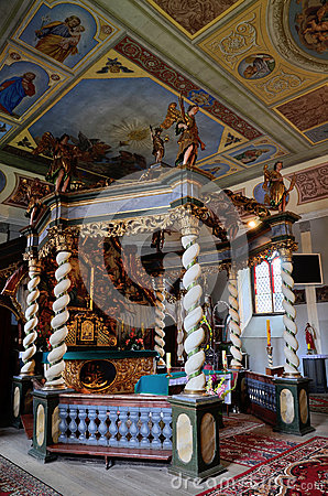 Canopy Altar In The Holy Trinity Church In Czaplinek Stock Photo.