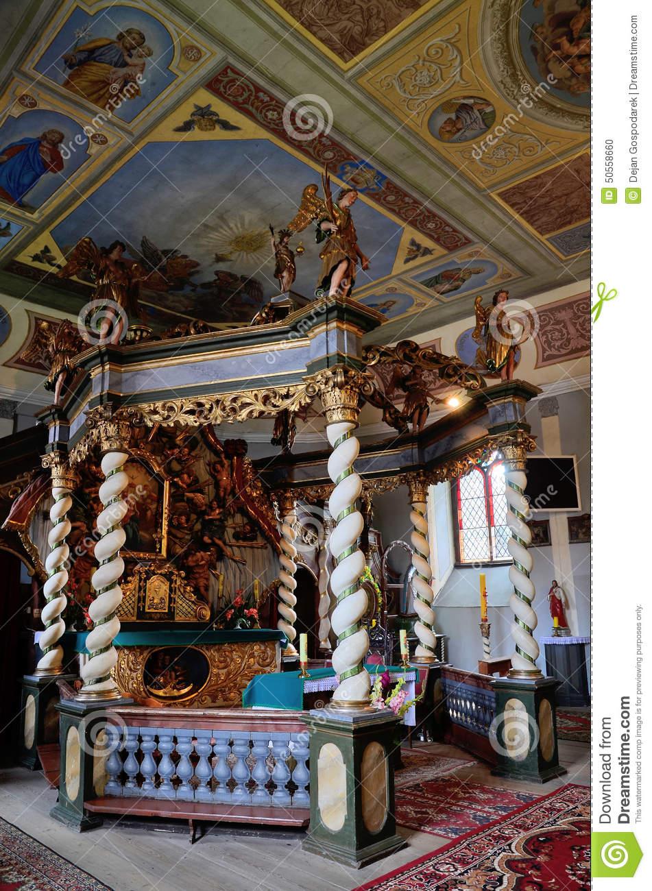 Canopy Altar In The Holy Trinity Church In Czaplinek Stock Photo.