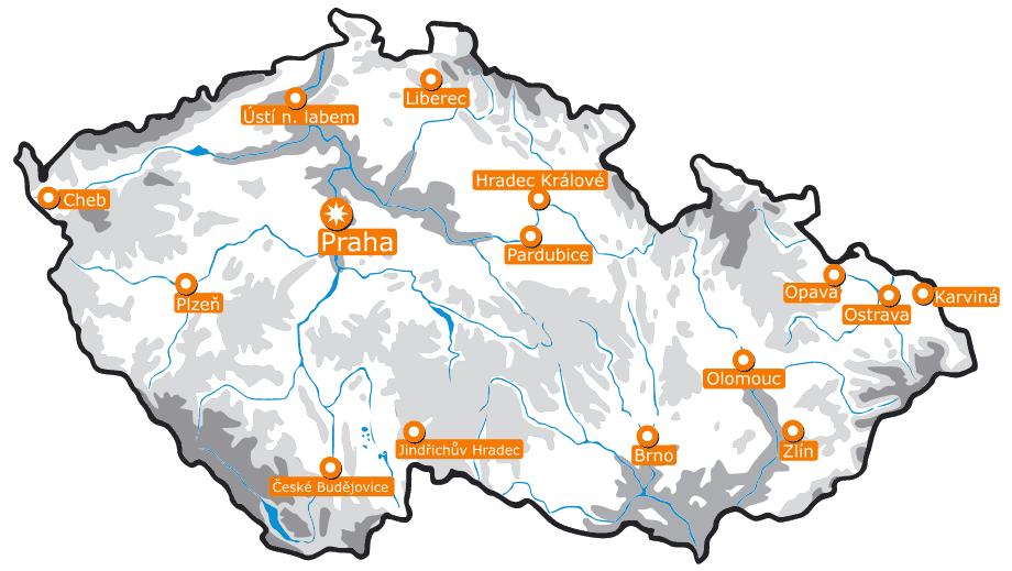 Map of the Czech Republic Clip Art • Mapsof.net.