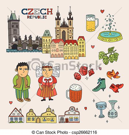 Vector Clip Art of Vector Czech Republic Doodle Art for Travel and.