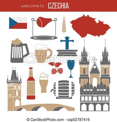 Czech Republic culture symbol set..