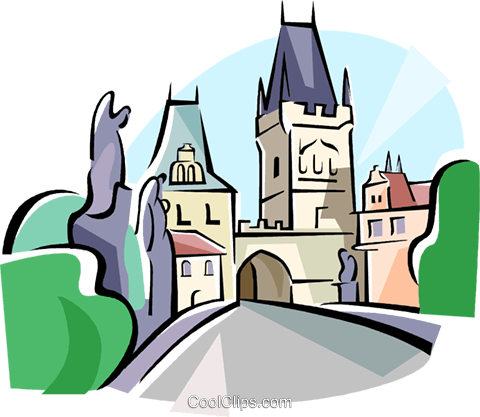 Czech Republic Prague Karlsbridge Royalty Free Vector Clip Art.