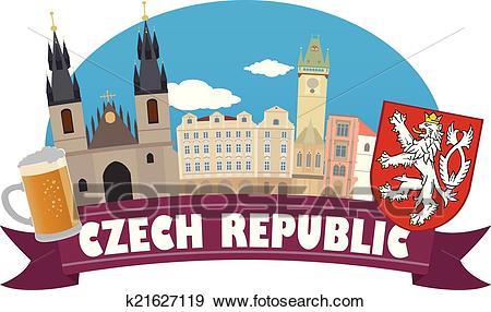 Czech republic. Tourism and travel Clip Art.