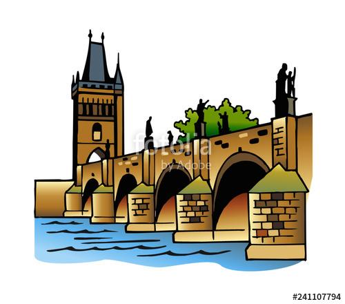 Charles Bridge and the Vltava river Prague Czech Republic clipart.