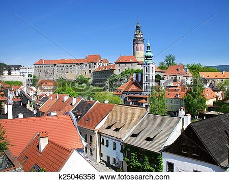 Pictures of medieval town Cesky Krumlov (UNESCO), South Bohemia.