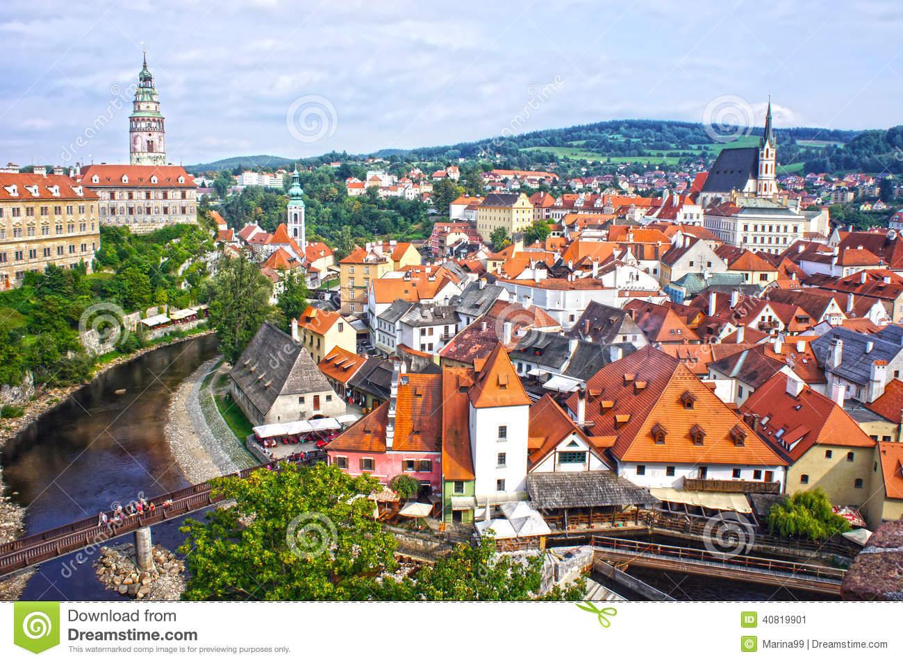Panorama Of Cesky Krumlov.Czech Republic. UNESCO World Heritage.
