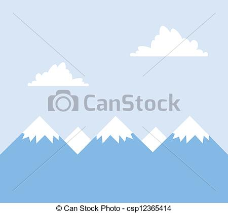 Vector Clip Art of Mountains Snow.