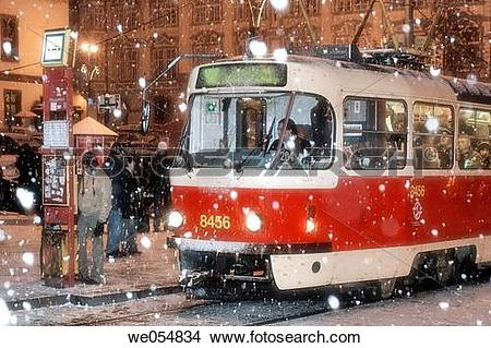 Stock Photo of Czech Republic, Prague. Lesser town. Street car in.