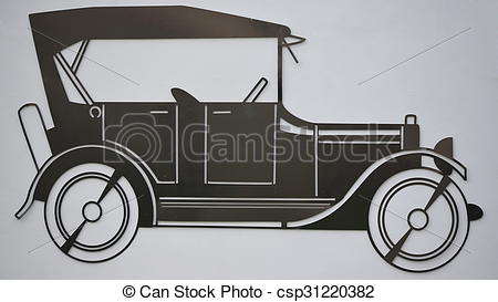 Pictures of outline old car made of sheet metal, Czech Republic.