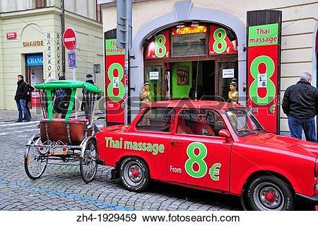 Stock Photograph of Prague, Czech Republic. Thai massage in.