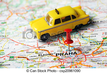 Stock Photographs of Prague, Czech Republic map taxi.