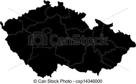 Vector Clipart of Black Czech Republic map.