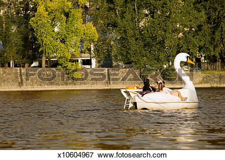 Picture of Group of people boating in a swan shaped boat, Vltava.
