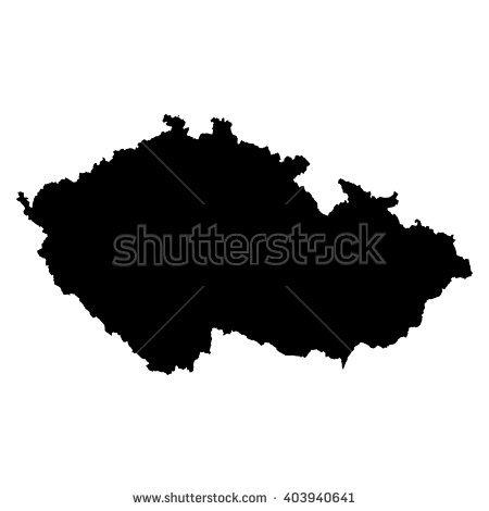 Detailed Isolated Map Czech Republic Black Stock Illustration.