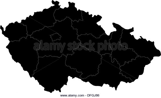 Map Czech Republic Black and White Stock Photos & Images.