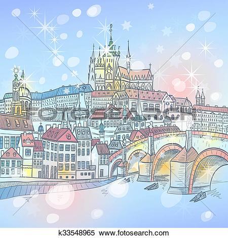 Clipart of Charles Bridge in Prague at night, Czechia k33548965.