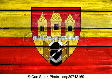 Stock Illustration of Flag of Prague with Coat of Arms (Escutcheon.