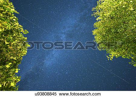 Stock Image of Hungary, Veszprem, Dorgicse. Stars visible in the.
