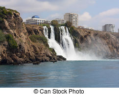 Stock Photo of Waterfall Duden at Antalya, Turkey.