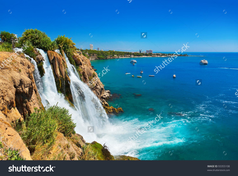 Waterfall Duden Antalya Turkey Nature Travel Stock Photo 93355108.