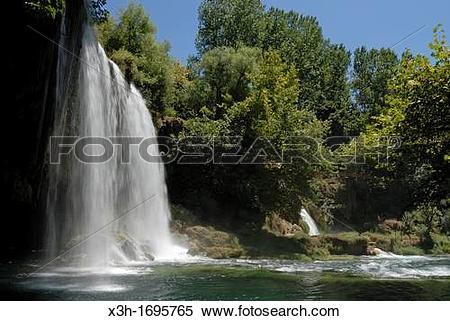 Stock Image of upper Duden Waterfalls, Antalya, Turkey, Eurasia.
