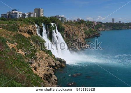Waterfall Turkey Alanyacoastal Zone Marine Landscape Stock Photo.