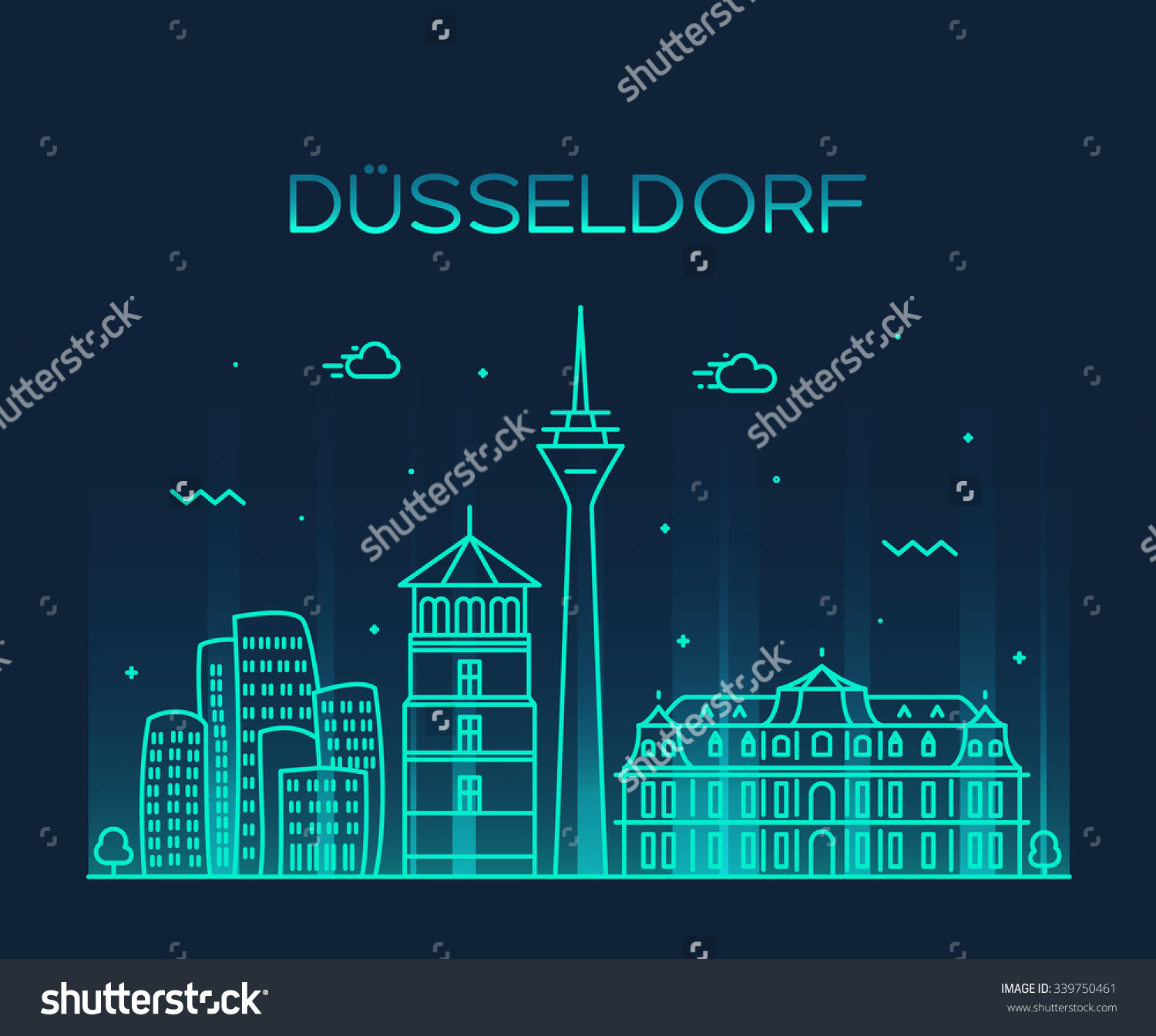 Dusseldorf Skyline Detailed Silhouette Trendy Vector Stock Vector.