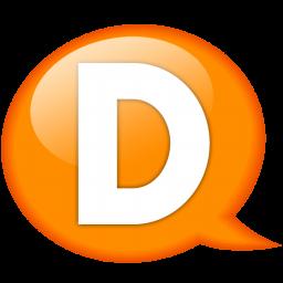 Speech balloon orange d Icon.