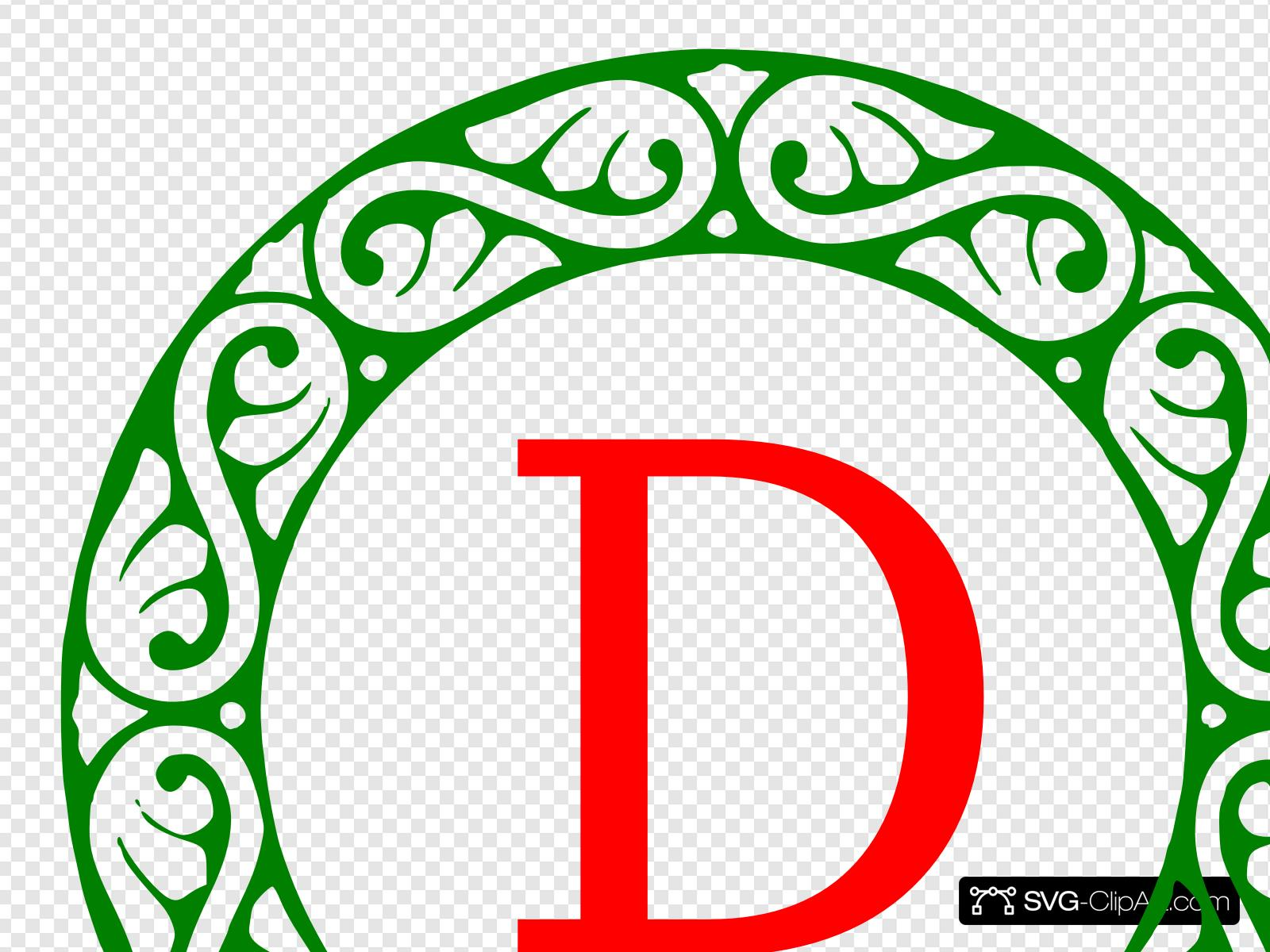 Letter D Christmas Monogram Clip art, Icon and SVG.