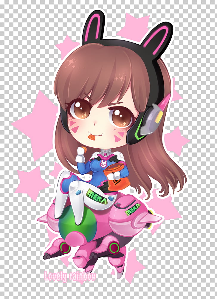 Overwatch D.Va Chibi Fan art Drawing, mercy PNG clipart.