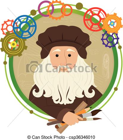 Vector Clip Art of Leonardo Da Vinci Cartoon.