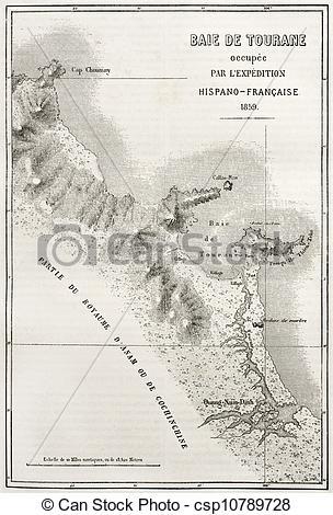 Clip Art of Tourane bay map.