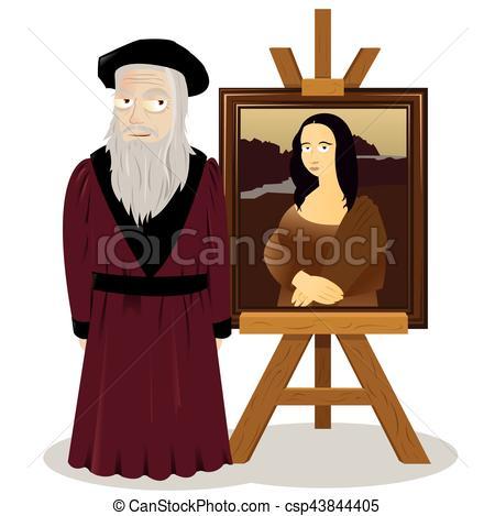 Mona Lisa Easel and Leonardo Da Vinci.