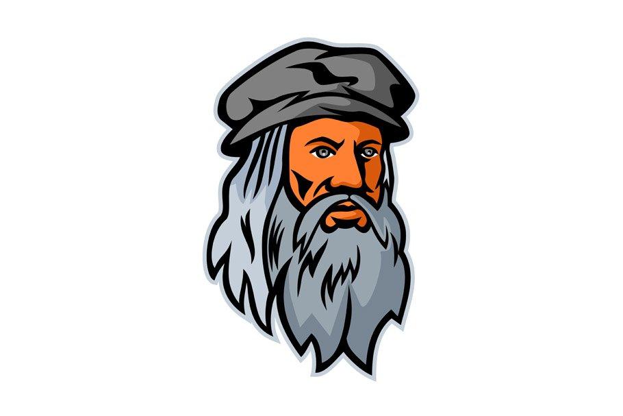 Leonardo da Vinci Head Mascot.