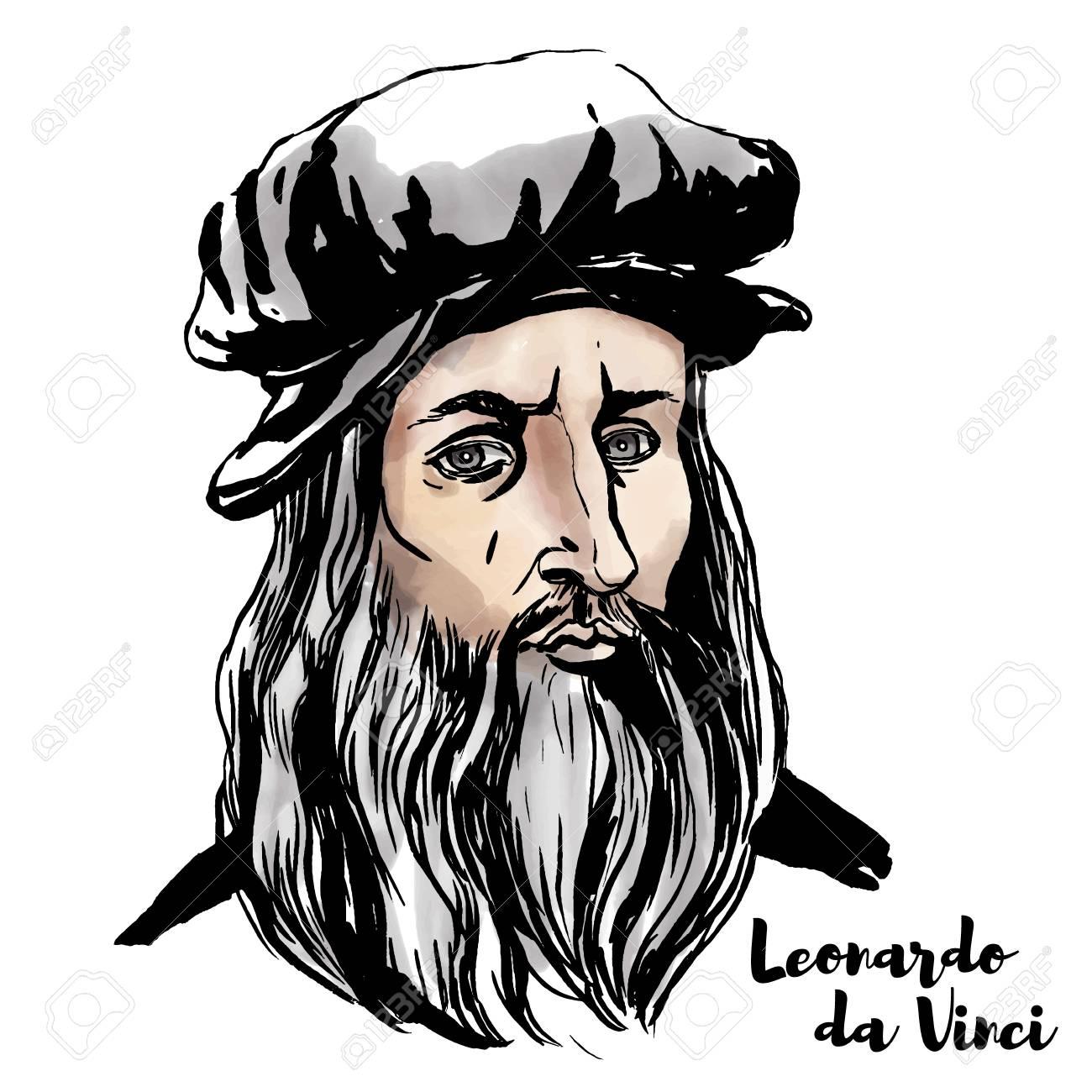 Leonardo da Vinci watercolor vector portrait with ink contours..